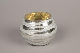 B270LE Silver glass candle jar silver D13cm H11cm