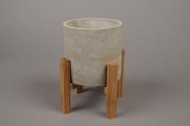 B289LE Cache-pot en céramique avec support en bois H21cm