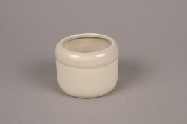 B313WV Cache-pot en céramique taupe D8cm H6cm
