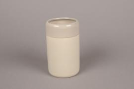 B318WV Vase en céramique taupe D8cm H12cm
