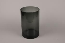 B366W3 Glass vase black D18.5cm H30cm