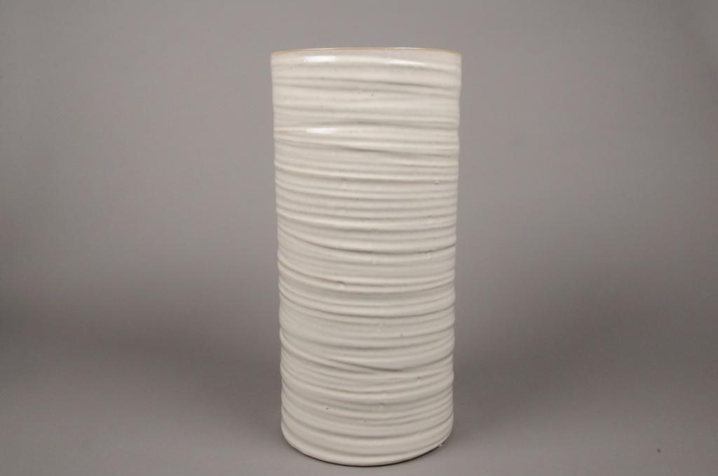 B375WV Vase en céramique ivoire D20cm H42cm