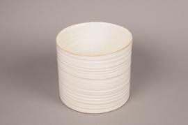 B377WV Cache-pot céramique cylindre ivoire D23cm H20.5cm