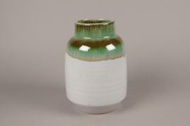 B381LE Vase en céramique vert et gris D18cm H25cm