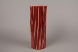 B385LE Vase en céramique rouge strié D14cm H36cm