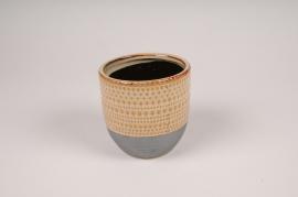 B390LE Cache-pot en céramique ethnique D11.5cm H11cm
