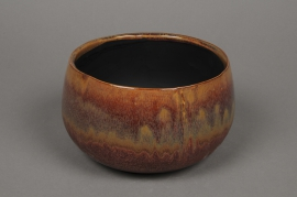 B390WV Brown enamelled ceramic bowl D19cm H11cm