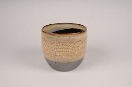 B391LE Cache-pot en céramique ethnic D13.5cm H12.5cm