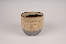 B391LE Ethnic ceramic planter pot D13.5cm H12.5cm