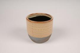 B392LE Cache-pot en céramique ethnique D16cm H15cm