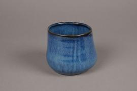 B393WV Blue ceramic planter D13cm H11cm