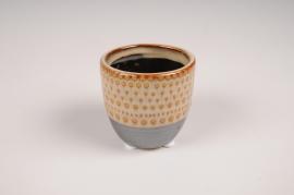 B394LE Cache-pot en céramique ethnique D7cm H7cm