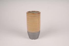 B395LE Vase en céramique ethnique D11cm H22cm