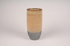B396LE Vase en céramique ethnique D13.5cm H27cm