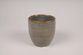 B407LE Cache-pot en céramique vert D10.5cm H11cm