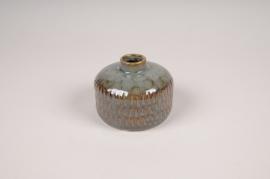 B409LE Vase soliflore en céramique vert D10cm H8cm