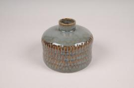 B410LE Vase soliflore en céramique vert D13cm H11cm
