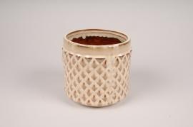 B413LE Cache-pot en céramique beige D14cm H13.5cm