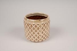 B414LE Beige ceramic planter pot D12cm H11cm
