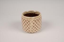 B415LE Cache-pot en céramique beige D10.5cm H9cm