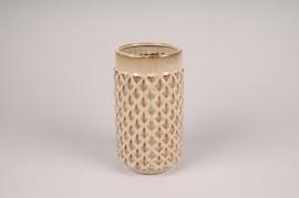 B417LE Beige ceramic planter pot D11.5cm H21cm