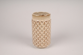 B417LE Vase en céramique beige D11.5cm H21cm