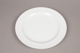 B427WV Assiette en céramique blanche D31.5cm