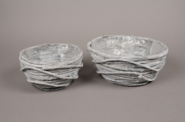 B430WV Set de 2 coupes en osier gris D31cm