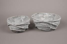 B430WV Set of 3 grey wicker planters pots D31cm