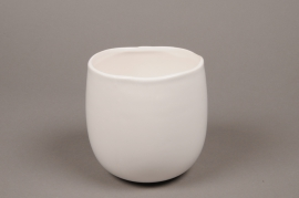 B432WV White ceramic planter pot D13cm H14cm