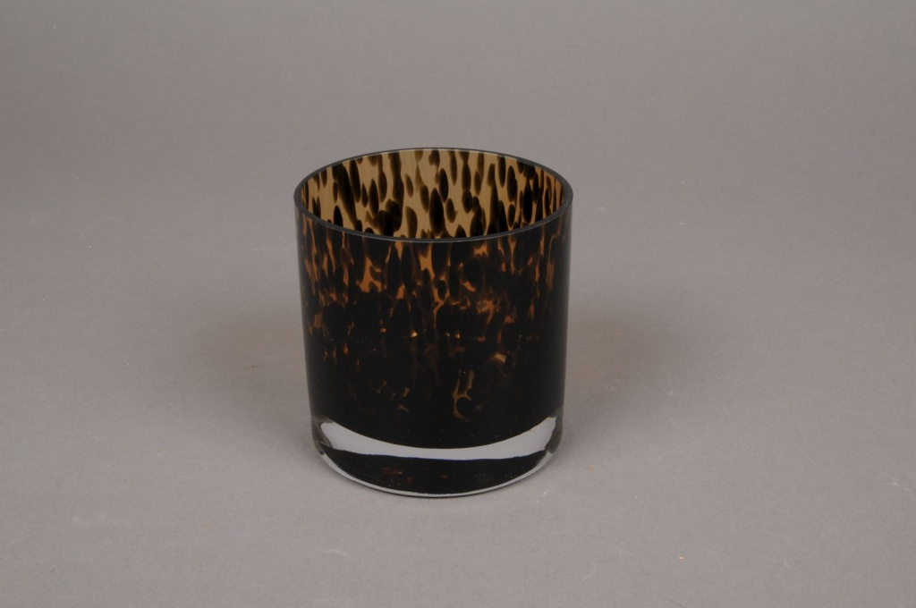 B435W3 Vase en verre léopard D9cm H9cm