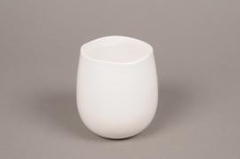 B440WV White ceramic pot D9cm H11cm