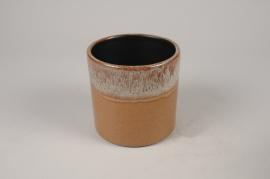 B461LE Cache-pot en céramique ocre D13cm H12.5cm