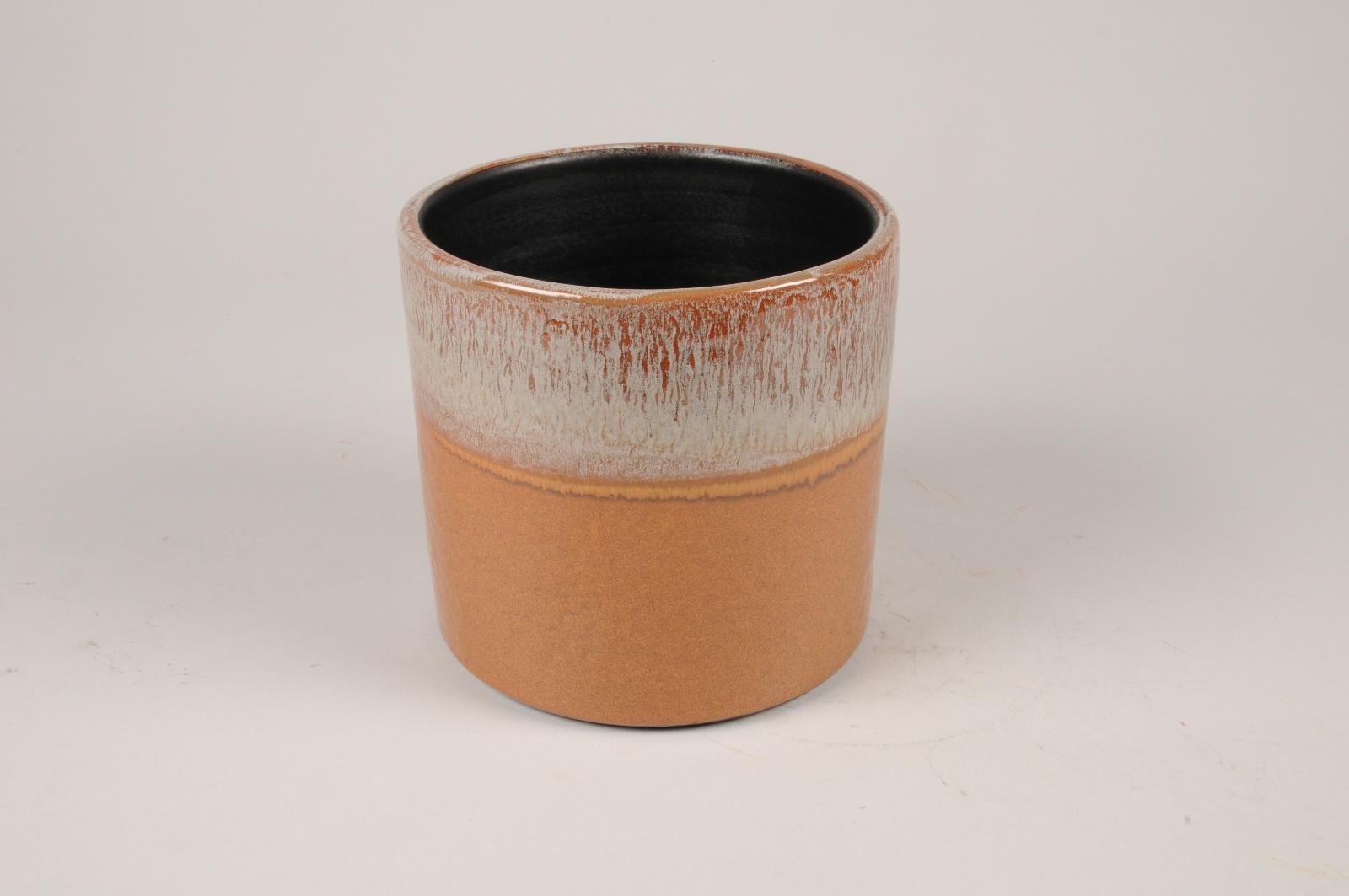 B462LE Cache-pot en céramique ocre D16.5cm H15.5cm