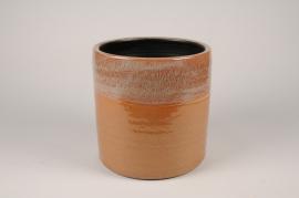 B463LE Cache-pot en céramique ocre D19cm H20cm