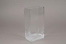B463W3 Glass rectangular vase 12cm x 8cm H24cm