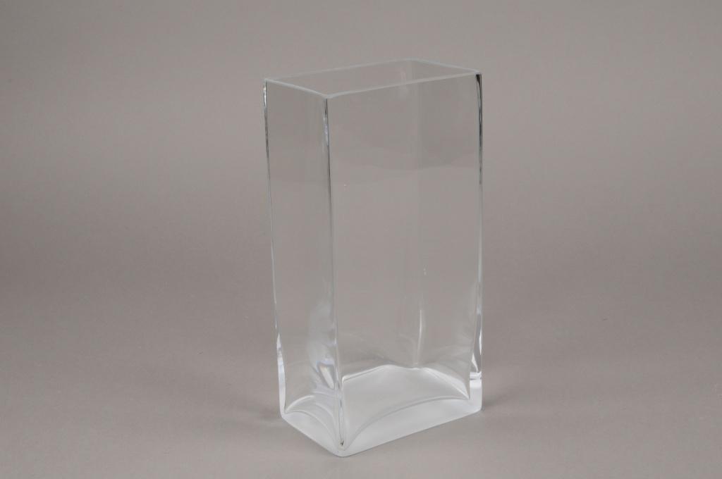 B463W3 Vase rectangulaire en verre 12cm x 8cm H24cm