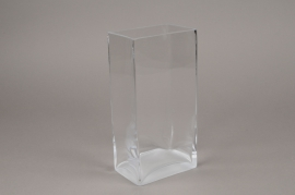 B463W3 Glass rectangular vase 12cm x 8cm H24cm