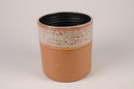 B464LE Cache-pot en céramique ocre D23.5cm H23.5cm