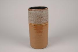 B465LE Vase en céramique ocre D14cm H29cm