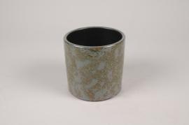 B467LE Cache-pot en céramique vert foncé D13cm H12.5cm