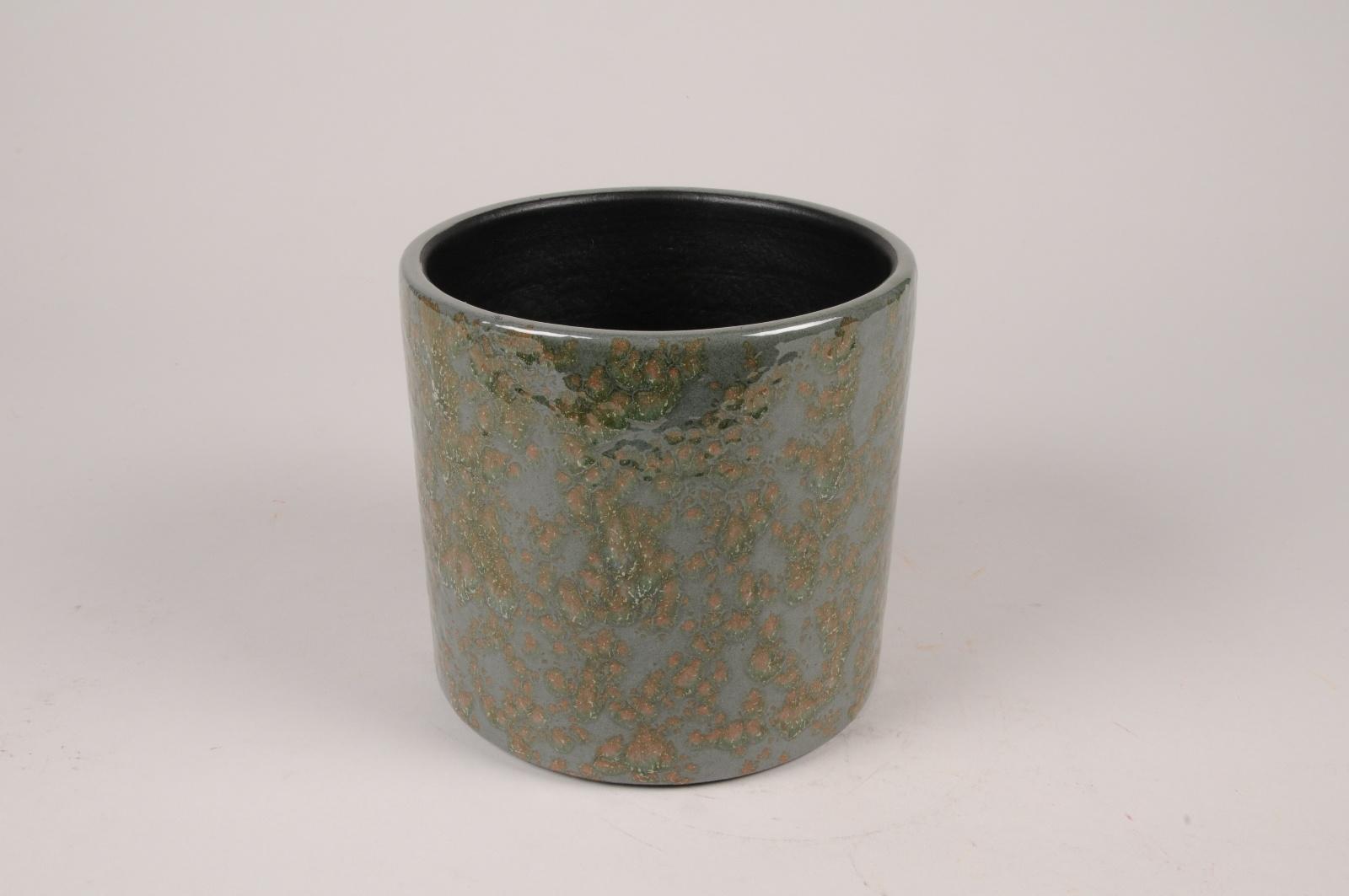 B468LE Cache-pot en céramique vert foncé D16cm H15cm