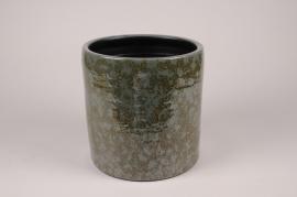 B470LE Cache-pot en céramique vert foncé D23cm H23.5cm