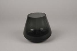 B482W3 Vase verre fumé noir D14cm H12cm