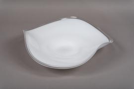 B495W3 Coupe en verre blanch D38cm H10cm