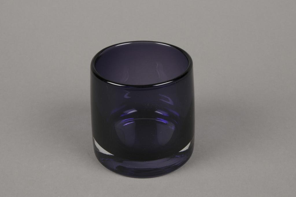 B499W3 Vase verre fumé violet D9cm H9cm