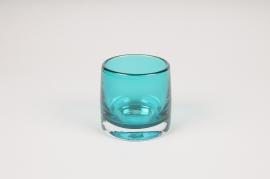 B500W3 Photophore en verre bleu D9cm H8.5cm