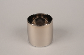 B501W3 Vase verre argent D9cm H8.5cm