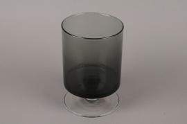 B502W3 Vase verre cylindre fumé noir D15cm H23cm