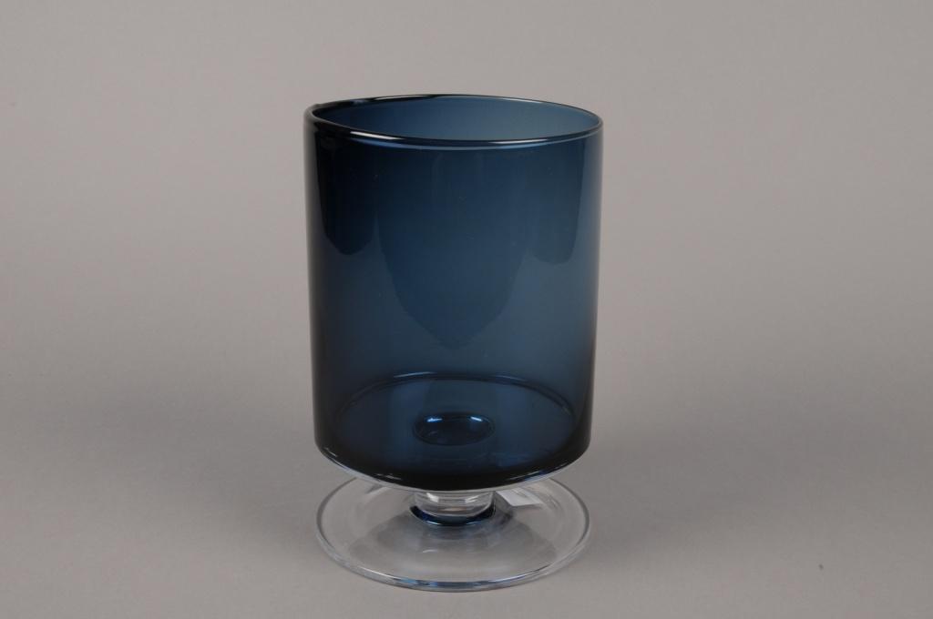 B503W3 Vase verre cylindre fumé bleu D15cm H23cm
